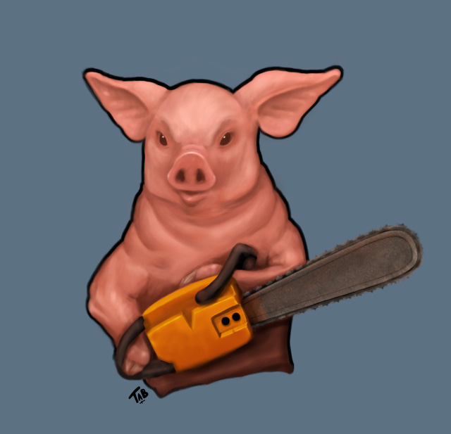 Pig with Chainsaw